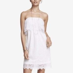 NWT Express White Lace Strapless Dress